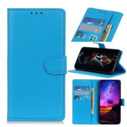 OnePlus 7 - Plånboksfodral Litchi - Blå