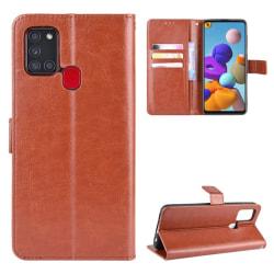 Samsung Galaxy A21s - Crazy Horse Plånboksfodral - Brun