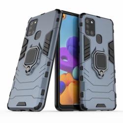 Samsung Galaxy A21s - Hybrid Armor Ring Skal - Navy Blue