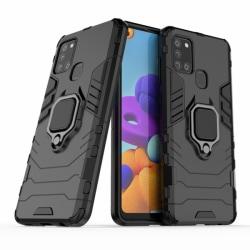 Samsung Galaxy A21s - Hybrid Armor Ring Skal - Svart