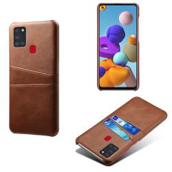 Samsung Galaxy A21s - Skal med Kortfack - Brun