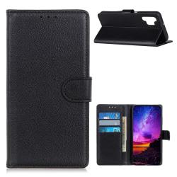 Samsung Galaxy A32 5G - Litchi Textur Fodral - Svart Black Svart
