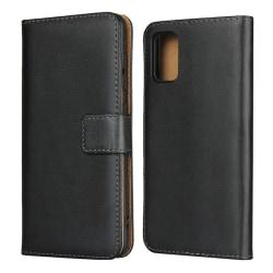 Samsung Galaxy A41 - Äkta Läder Plånboksfodral - Svart