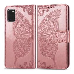 Samsung Galaxy A41 - Butterfly Plånboksfodral - Roséguld