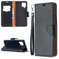 Samsung Galaxy A42 - Litchi Läder Fodral - Svart Black Svart