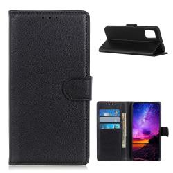 Samsung Galaxy A52 - Litchi Läder Fodral - Svart Black Svart