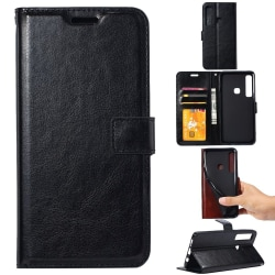 Samsung Galaxy A9 (2018) - Crazy Horse Plånboksfodral - Svart Black Svart