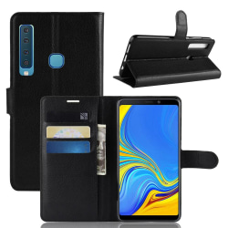 Samsung Galaxy A9 (2018) - Litchi Plånboksfodral - Svart Black Svart