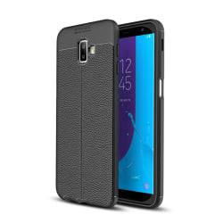 Samsung Galaxy J6 Plus - Litchi läderskal - Svart