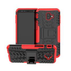 Samsung Galaxy J6 Plus - Stöttåliga skalet med stöd - Röd