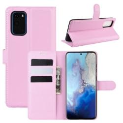 Samsung Galaxy S20 - Litchi Plånboksfodral - Ljus Rosa