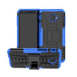 Samsung Glaxy J6 Plus - Stöttåliga skalet med stöd - Blå