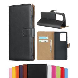 Samsung S20 Ultra - Plånboksfodral I Äkta Läder - Välj Färg! Svart