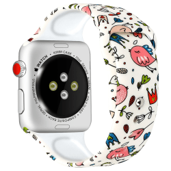 Silikon Armband Apple Watch 40/38 mm - Fåglar/Blommor