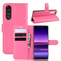 Sony Xperia 5 - Litchi Plånboksfodral - Rosa