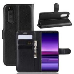 Sony Xperia 5 - Litchi Plånboksfodral - Svart