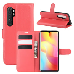 Xiaomi Mi Note 10 Lite - Litchi Plånboksfodral - Röd