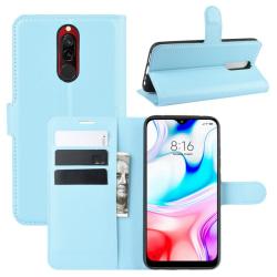 Xiaomi Redmi 8 - Litchi Plånboksfodral - Ljus Blå