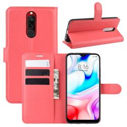 Xiaomi Redmi 8 - Litchi Plånboksfodral - Röd