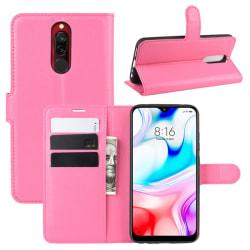 Xiaomi Redmi 8 - Litchi Plånboksfodral - Rosa