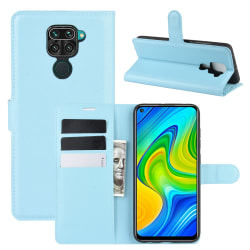 Xiaomi Redmi Note 9 - Litchi Plånboksfodral - Ljus Blå