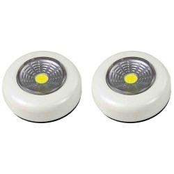 2-pack Batteridriven LED pushlight downlight, vit spotlight Vit