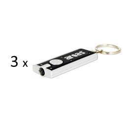 3-pack nyckelring med LED ficklampa nyckelringsficklampa lampa Svart