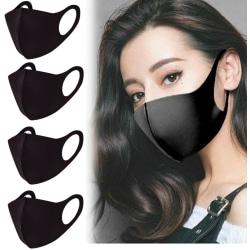 4 PACK Tvättbar mask - Munskydd / Skyddsmask Svart