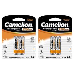 4st laddningsbara AA batterier Camelion NiMH 2700mAh Batteri Silver