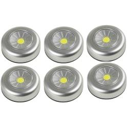 6-pack Batteridriven  LED lampa spotlight + 18st batterier Grafitgrå
