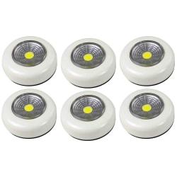 6-pack Batteridriven vit LED lampa spotlight + 18st batterier Vit