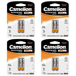8st Camelion laddningsbara batterier AAA NiMH 800mAh laddningsba Svart