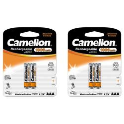 Camelion 4st batterier AAA NiMH 1000mAh laddningsbara laddningsb Silver