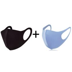 Tvättbar fashion mask 2-pack, blå & svart munskydd