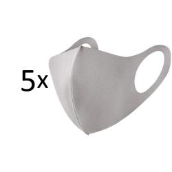 Tvättbar fashion mask 5-pack, beige / ljusgrå munskydd Beige
