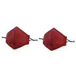 Tvättbart munskydd 2-pack Röd Bomull med filter Röd one size