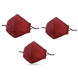 Tvättbart munskydd 3-pack Röd Bomull med filter Röd one size