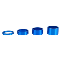 4Pcs/Set 5mm/10mm/15mm/20mm Aluminum Alloy Headset Spacer Bi blue