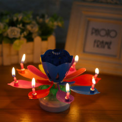 Cake Topper Multicolor Lotus Flower Candle Blossom Musical R Round base