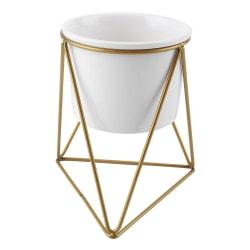 Ceramic Flower Pot and Triangle Geometric Metal Rack Plant D 白花盆+金铁架
