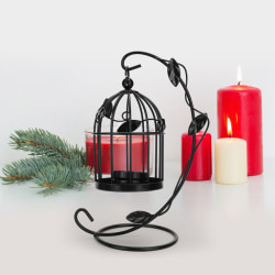Retro Hollow Out Bird Cage Iron Hanging Candle Holder Candle black