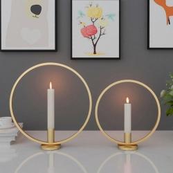Round Circle Metal Candlestick Home Decoration Craft Desk Ca 金色23CM