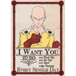 A3 Print - One Punch Man - Caped Baldy - I Want You MultiColor