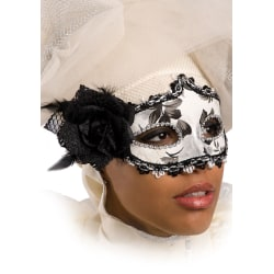 Ansiktsmask - Black and white mask with rose and feathers multifärg
