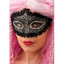 Ansiktsmask - Black mask with lace and strass MultiColor