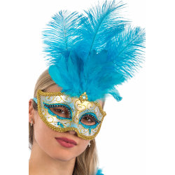 Ansiktsmask - Blue Venetian mask with gold , glitter and feather multifärg