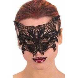 Ansiktsmask -Cat  mask in black Fabric Macrame multifärg