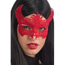 Ansiktsmask - Devil mask in red Fabric Macrame multifärg