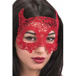 Ansiktsmask - Devil mask in red Fabric Macrame MultiColor