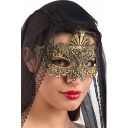 Ansiktsmask - Mask in gold Fabric Macrame MultiColor